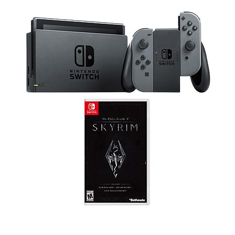 "Nintendo Gray Switch Bundle with ""The Elder Scrolls V: Skyrim"" Game"