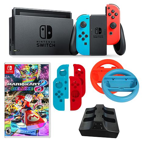 Nintendo Neon Switch Bundle With 2 Joy Con Wheels And Mario Kart 8 Deluxe Game
