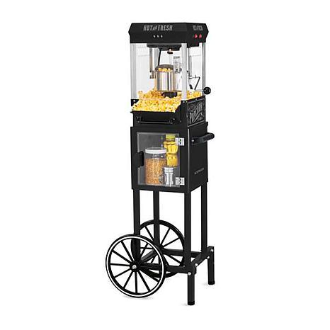 Nostalgia 2.5 oz. Popcorn Cart with 5 qt. Popcorn Bowl in Black