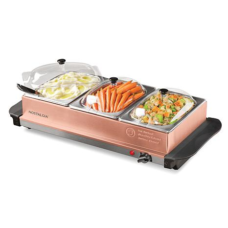 nostalgia copper 3 station 4 5 qt buffet server and warming tray rh hsn com buffet warmer trays for sale buffet warming trays for rent