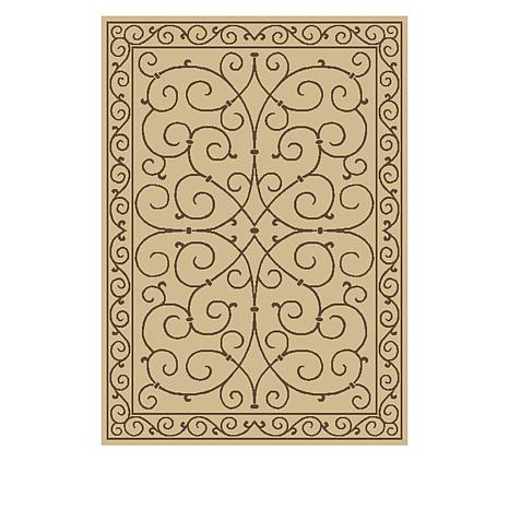 Oasis 5' x 7' Scroll Design Indoor/Outdoor Reversible Rug