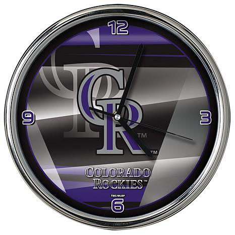 Officially Licensed MLB Shadow Chrome Clock - Rockies