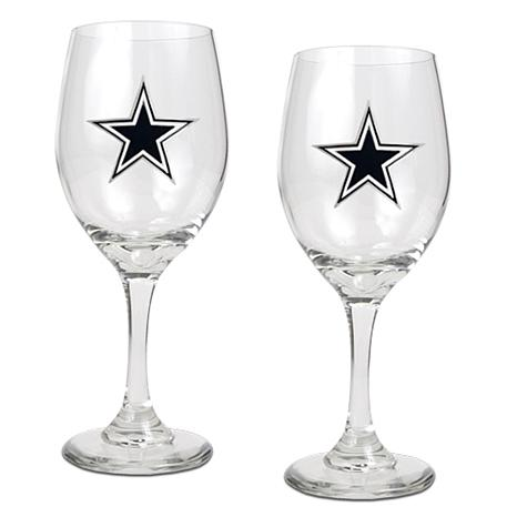 Officially Licensed NFL 2-piece Wine Glass Set-Dallas