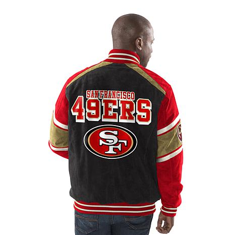 various colors b000c 6dd0d Officially Licensed NFL Colorblocked Suede Jacket by Glll - 49ers