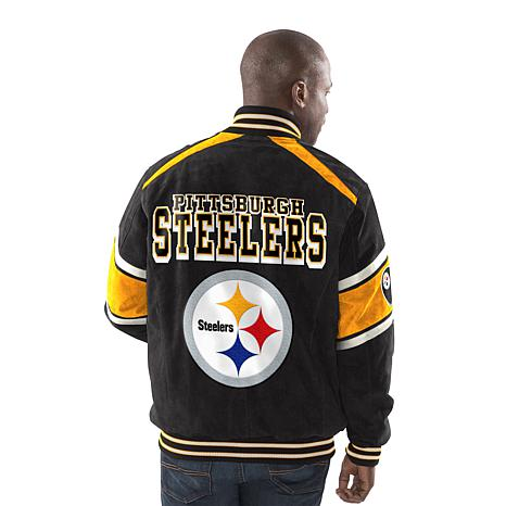 Officially Licensed NFL Colorblocked Suede Jacket by Glll - Steelers -  8709400  836773581