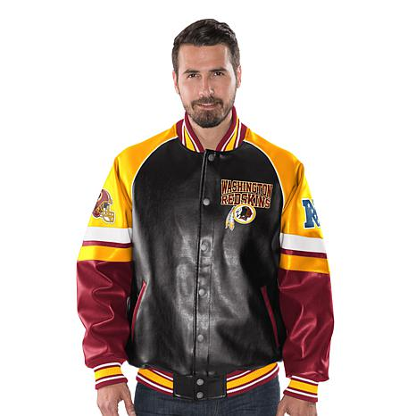 new concept 2d32f 6c144 Officially Licensed NFL Men's Faux Leather Varsity Jacket by Glll - Redskins