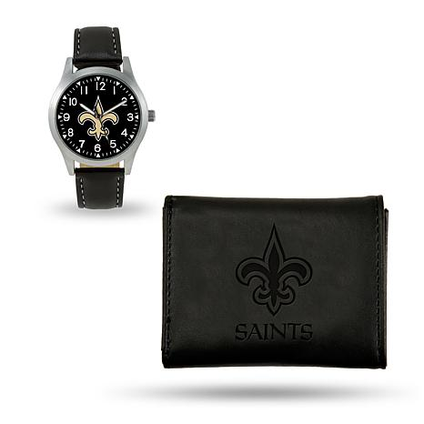 Officially Licensed NFL Trifold Wallet and Watch Gift Set in Black - Saints  - 8760262  6d9cc92d6