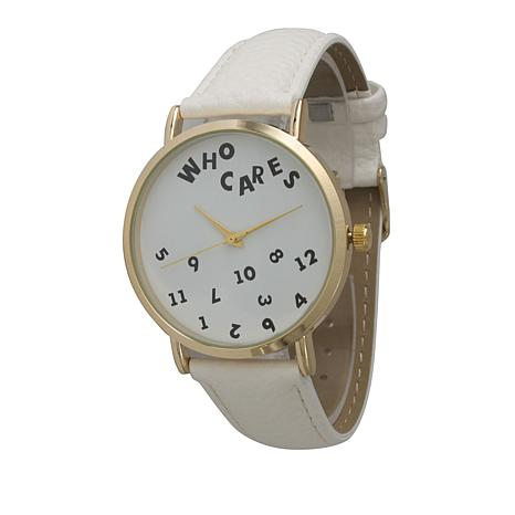 "Olivia Pratt ""Who Cares"" Goldtone White Faux Leather Strap Watch"
