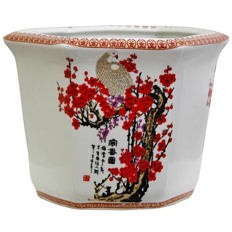 "Oriental Furniture 10"" Cherry Blossom Flower Pot"