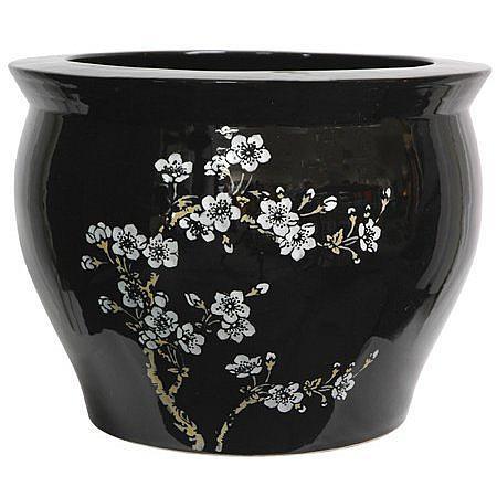 "Oriental Furniture 14"" Flower Blossom Fish Bowl"