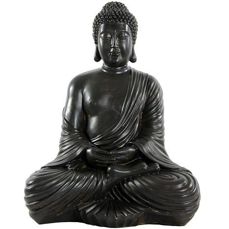 "Oriental Furniture 17"" Japanese Sitting Buddha Statue"