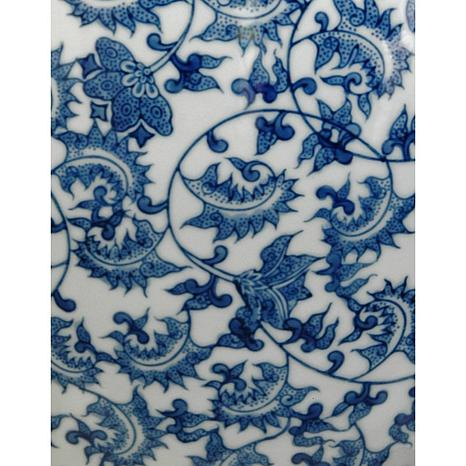 Oriental Furniture 12 Floral Blue And White Porcelain Fishbowl