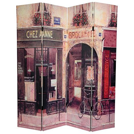 Oriental Furniture 6 Double Sided French Caf Canvas Room Divider