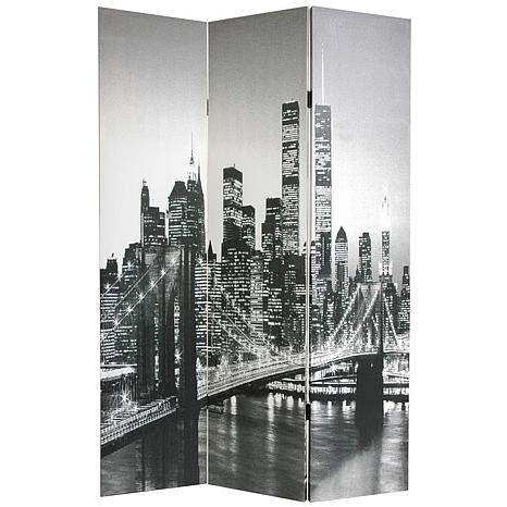 Oriental Furniture 6 Foot Double Sided New York Scenes Room Divider
