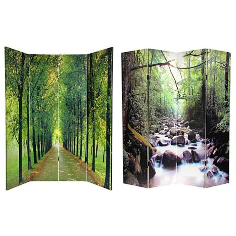 Oriental Furniture 6 Foot Double Sided Path Of Life Room Divider 4 Panel