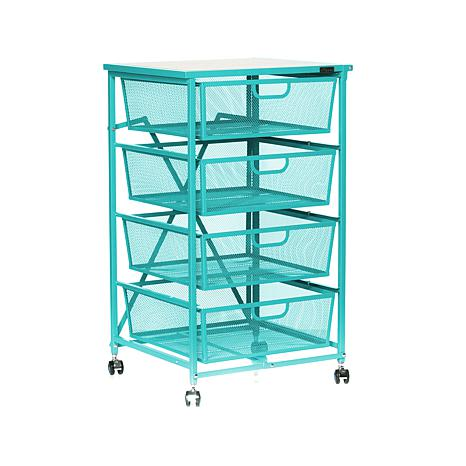Origami 4-Drawer Cart with Wood Shelf