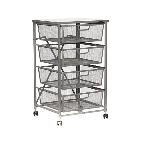 origami 4drawer kitchen cart with wood shelf 8090500 hsn