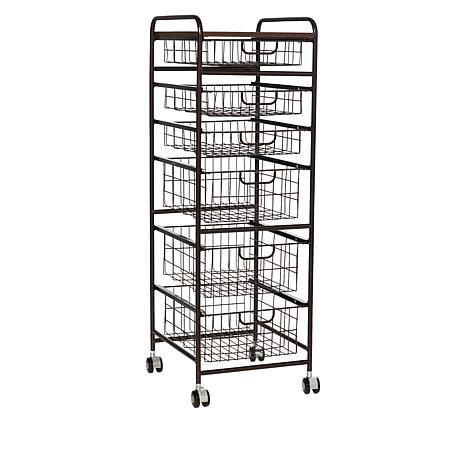Origami 6-Tier Basket Cart with Wheels