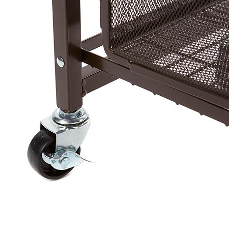 origami steel folding 2 drawer pantry rack with wheels