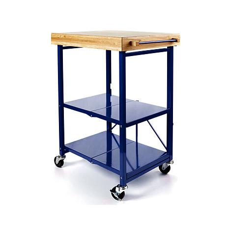 origami folding kitchen island cart with casters - 8090466 | hsn