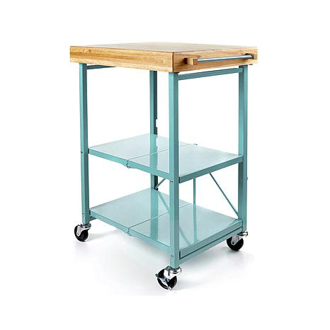 Origami Folding Kitchen Island Cart With Casters 8090466