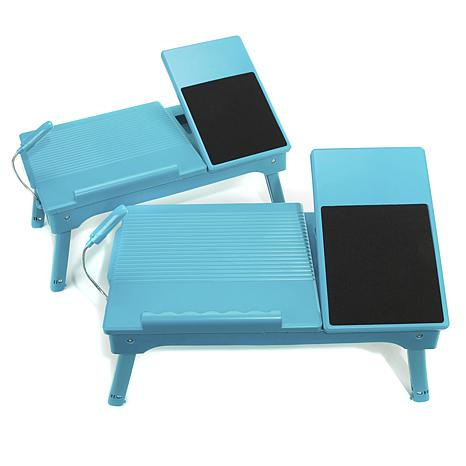 Origami Set of 2 Laptop Tables with USB & LED