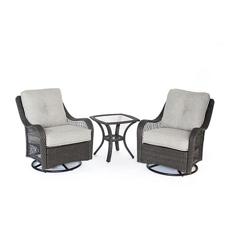 Orleans 3pc Swivel Rocking Chat Set - Silver Lining