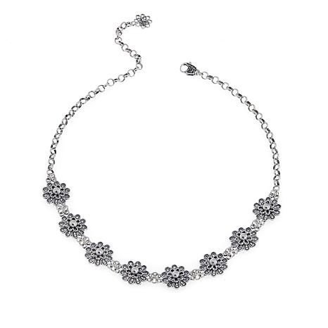 Ottoman Jewelry Sterling Silver Floral Choker-Necklace