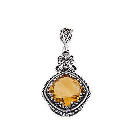 Ottoman Silver 5.2ct Cushion-Cut Citrine Pendant