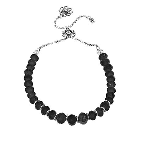 Ottoman Silver Faceted Black Spinel Bead Adjustable Bracelet