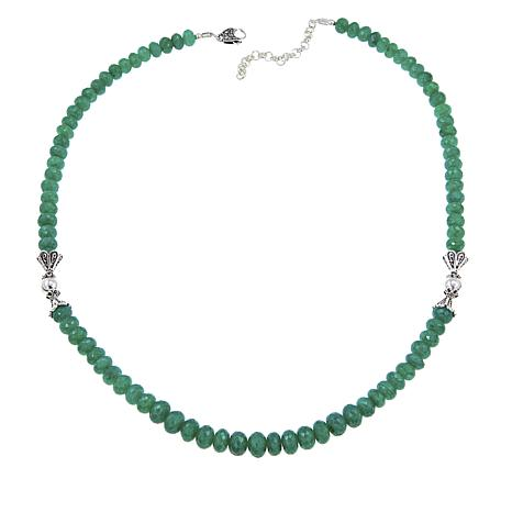 "Ottoman Silver Faceted Green Cordundum Bead 19"" Necklace"