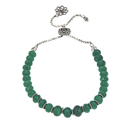 Ottoman Silver Faceted Green Cordundum Bead Adjustable Bracelet