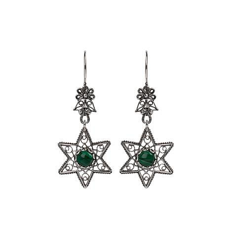 Ottoman Silver Gemstone Filigree Star Drop Earrings