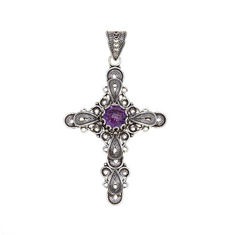 Ottoman Silver Jewelry 1.7ct Amethyst Cross Pendant