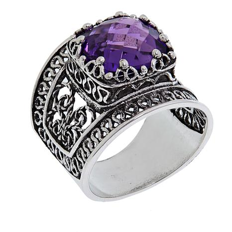 Ottoman Silver Jewelry Collection 3.5ct Amethyst Bold Filigree Ring