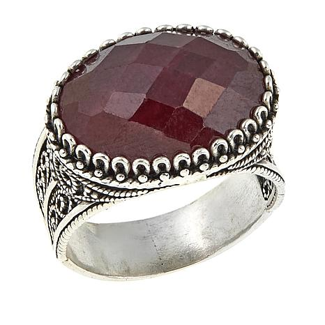 Ottoman Silver Jewelry Collection Oval Ruby Filigree Ring