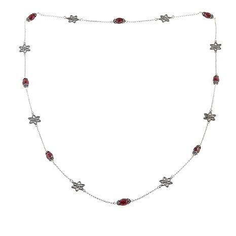 "Ottoman Silver Jewelry Ruby and Flower Filigree Station 35"" Necklace"