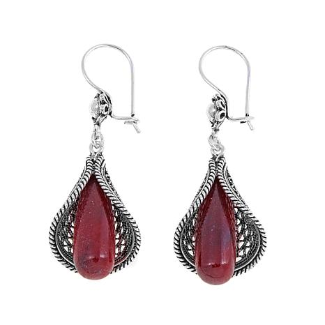Ottoman Silver Red Corundum Floral Drop Earrings