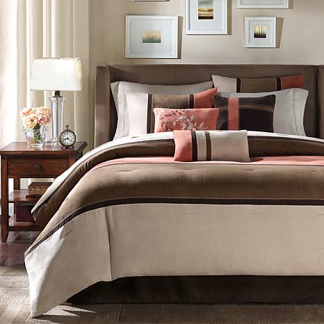 madison park palisades micro suede 7 piece comforter set cal king coral