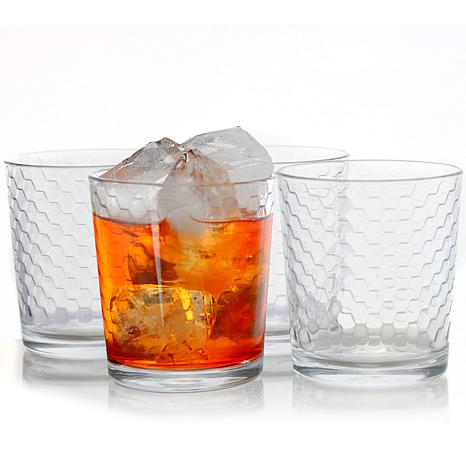 Pasabahce Horizon 4 Piece 13 Ounce Double Old Fashion Glass Cup Set...