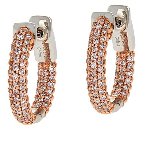 Passport to Gems 14K Gold Diamond Pavé Hugger Hoop Earrings