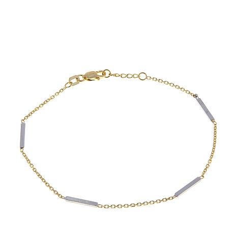 "Passport to Gold 14K 2-tone Bar Link 7-1/2"" Bracelet"