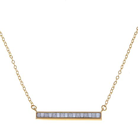 "Passport to Gold 14K Baguette Glitter Bar 18"" Necklace"