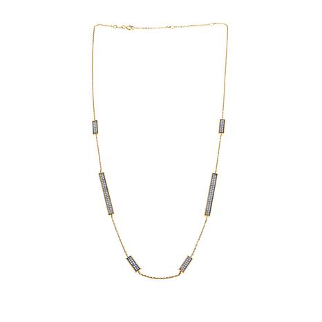 "Passport to Gold 14K Blue Glitter Bar 18"" Necklace"