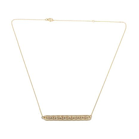 "Passport to Gold 14K Byzantine Bar 18"" Drop Necklace"
