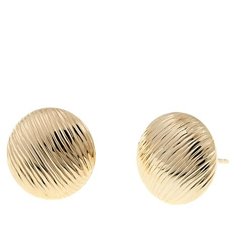 Passport to Gold 14K Diamond-Cut Button Stud Earrings