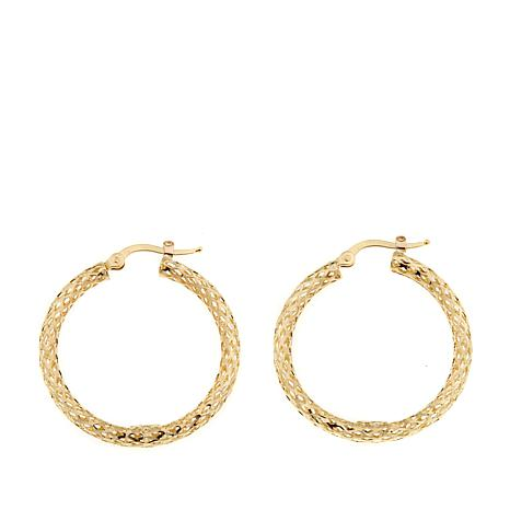 Passport to Gold 14K Diamond-Cut Mesh Hoop Earrings