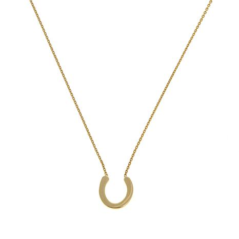 "Passport to Gold 14K Mini Horseshoe 16"" Necklace"