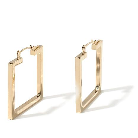 Pport To Gold 14k Polished Square Hoop Earrings