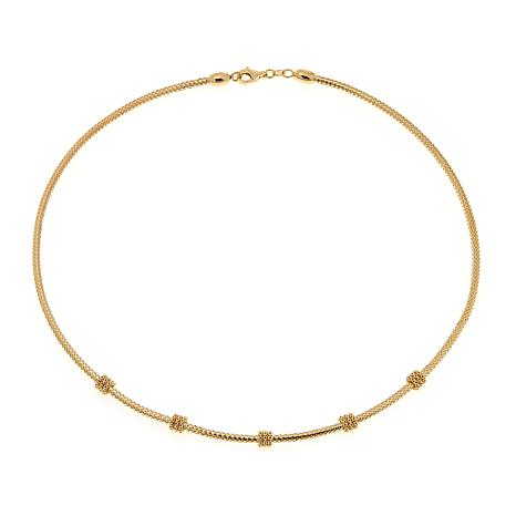 "Passport to Gold 14K Rondelle Station Mesh 18"" Necklace"